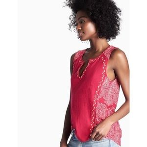 Lucky Brand embroidered woven mix tank paisley red